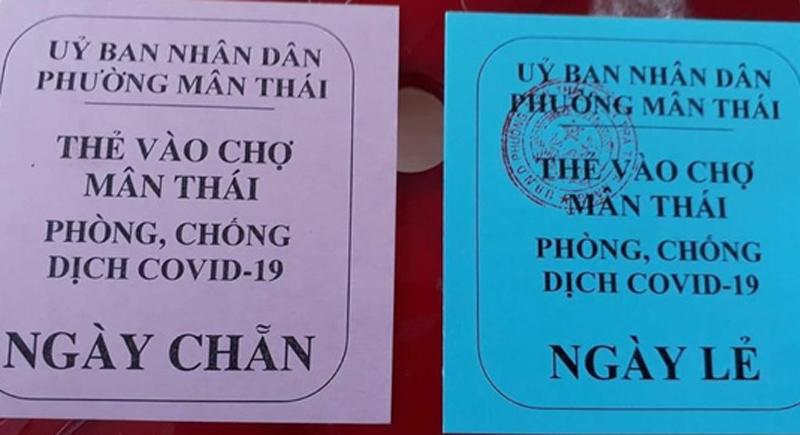 Phiếu đi chợ chẵn lẻ của UBND phường Mân Thái phát cho các hộ dân
