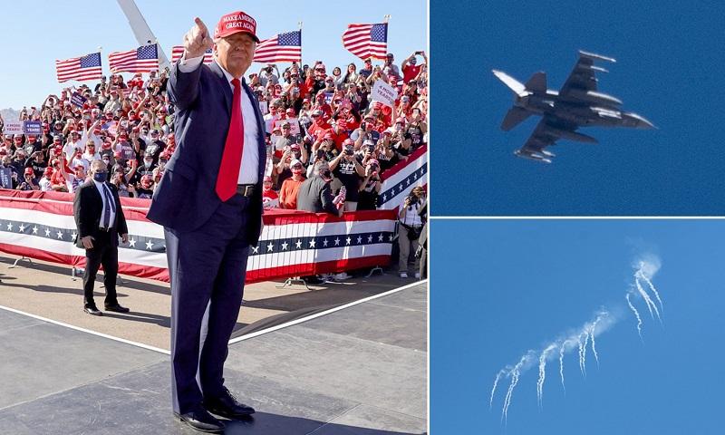 Tiêm kích F-16 chặn máy bay lạ xâm phạm khu vực TT Trump vận động tranh cử