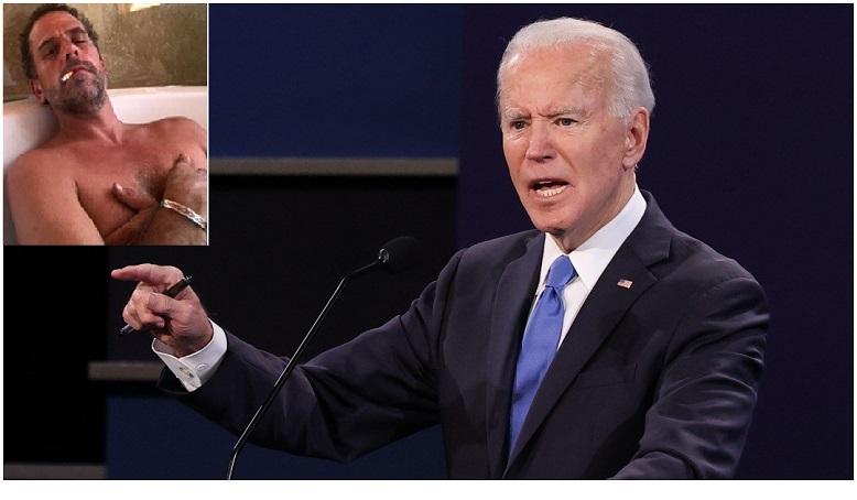 Ứng cử viên đảng Dân chủ Joe Biden phát biểu trong cuộc tranh luận tổng thống cuối cùng tại Đại học Belmont ở Nashville, Tennessee vào ngày 22/10 /2020 và ảnh của Hunter Biden trong ổ cứng máy tính xách tay được New York Post công bố