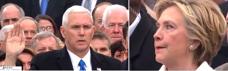 Phó Tổng thống Mike Pence tuyên thệ trước Kinh Thánh, và nét mặt không hài lòng của Hillary trong buổi nhậm chức ngày 20/1/2017