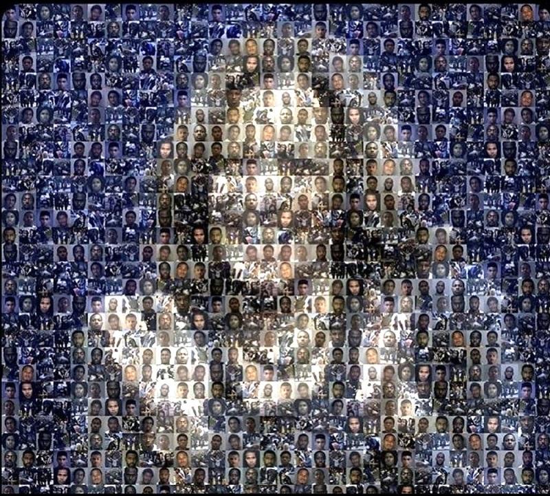 Bức tranh này được tạo nên từ hàng trăm bức ảnh của các tù nhân - những người bị Kamala Harris cố tình giam giữ