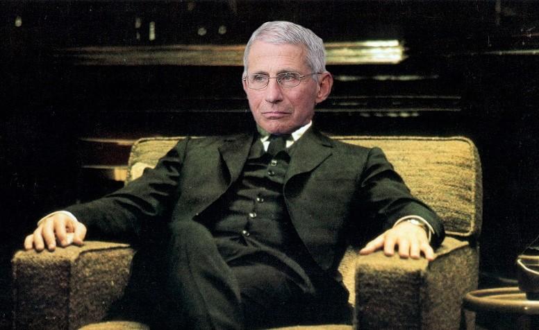"""Ảnh ghép Fauci trong tư thé ngồi của nhân vật Michael Corleone trong phi """"Bố già"""""""
