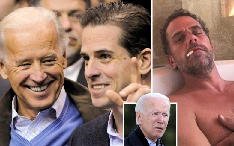Phó Tổng thống Joe Biden và con trai Hunter Biden cùng xem một trận đấu bóng rổ vào năm 2010 và ảnh Hunter Biden bị rò rỉ từ trong ổ cứng của một máy tính xách tay, được New York Post công bố.