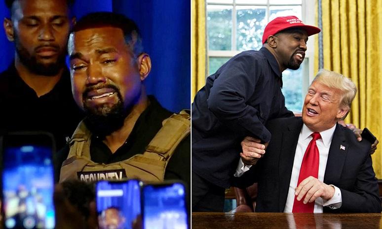 Kanye West rơi nước mắt trong khi phát biểu tại một sự kiện ở Nam Carolina vào ngày 19/7/2020 và Kanye West trong cuộc gặp với Tổng thống Donald Trump tại phòng Bầu Dục Nhà Trắng vào ngày11/10/2018.