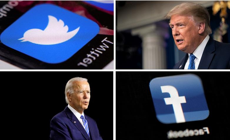 Ảnh tổng hợp: Tổng thống Donald Trump phát biểu trong cuộc họp báo tại Nhà Trắng vào ngày 22/7/2020, ở Washington, ứng dụng Twitter, ứng cử viên đảng Dân chủ Joe Biden phát biểu trong một sự kiện chiến dịch vào ngày 14/7/2020, ở Wilmington, Del. và ứng dụng Facebook.