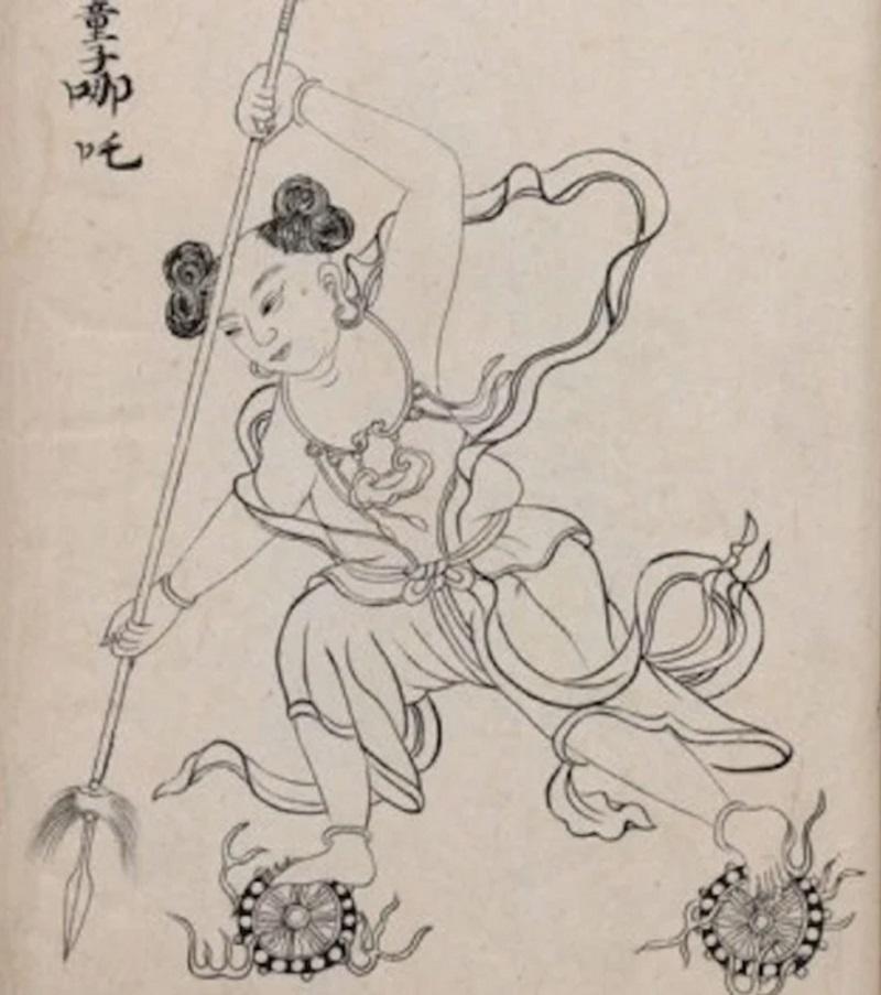 """Na Tra trong """"Phong Thần chân hình đồ"""" (Ảnh: Thư viện Quốc gia Đài Loan)"""
