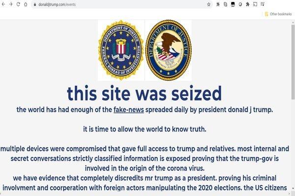 Trang web tái tranh cử của ông Trump bị tin tặc tấn công. Ảnh: Twitter