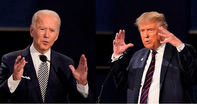 Trong hình ảnh kết hợp  của Tổng thống Donald Trump và ứng cử viên đảng Dân chủ Joe Biden trong cuộc tranh luận  đầu tiên ở Cleveland, Ohio vào ngày 29/9/2020