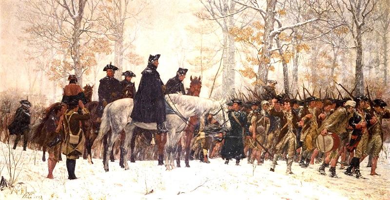 Quân đội Washington ở Valley Forge, vừa phải đối mặt với thời tiết lạnh giá, vừa phải gồng mình chống chọi với sự tàn nhẫn của quân đội Anh