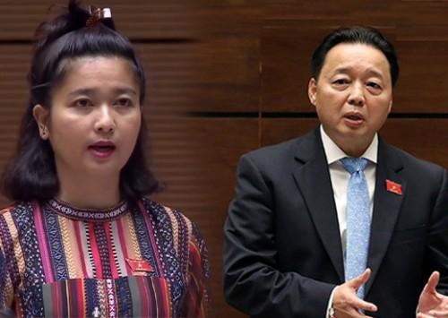 Nữ Đại biểu chất vấn gay gắt Bộ trưởng Bộ TN&MT về rừng và thủy điện nhỏ