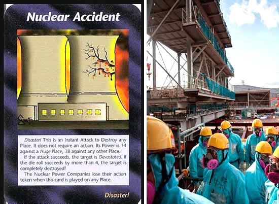 """Thẻ bài này tên là """"Tai nạn hạt nhân"""", trên đó vẽ tháp giải nhiệt của một nhà máy điện hạt nhân bị vỡ, các vết nứt giống như hoa anh đào của Nhật Bản"""