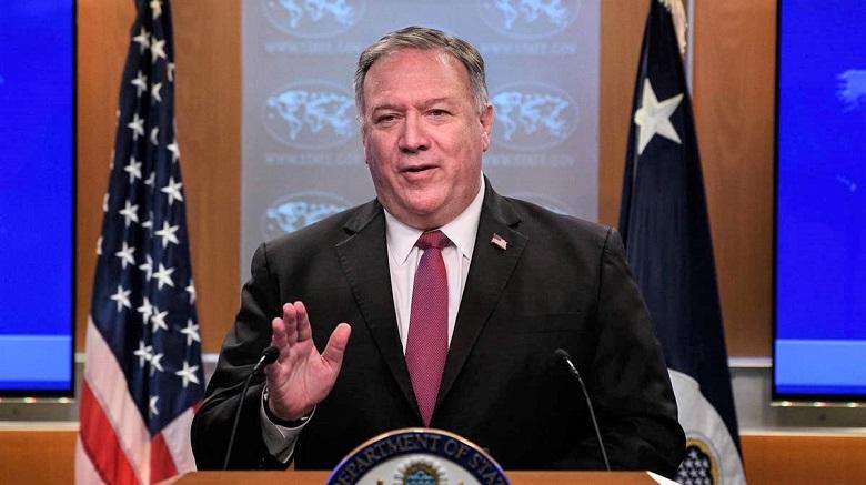 Ngoại trưởng Mỹ Mike Pompeo phát biểu trong cuộc họp báo tại Bộ Ngoại giao ở Washington, DC, vào ngày 21/10/2020