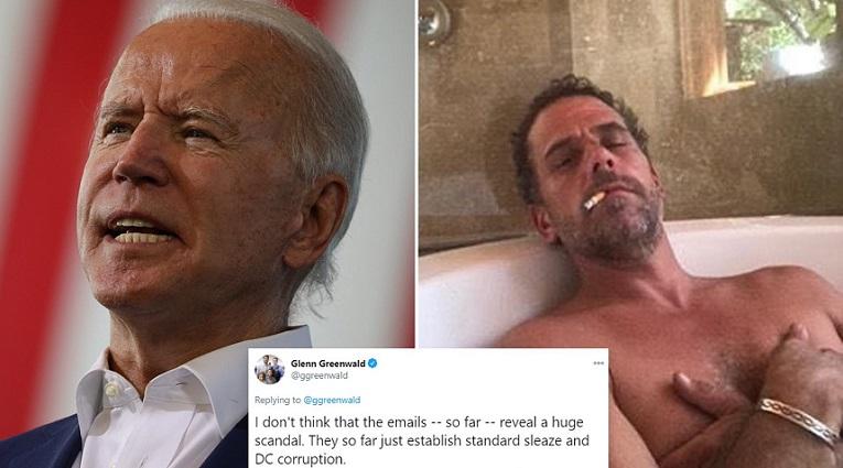 Ảnh kết hợp: Ứng cử viên đảng Dân chủ Joe Biden và ảnh con trai Hunter Biden trong ổ cứng laptop được phục hồi dược New York Post đăng tải.