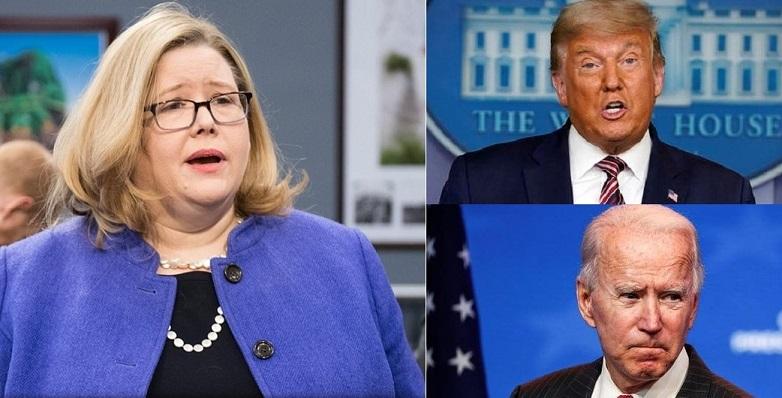 Ảnh kết hợp: Quản trị viên của Cơ quan Quản lý Dịch vụ Công Hoa Kỳ - Emily Murphy (trái); Tổng thống Donald Trump và ứng cử viên đảng Dân chủ Joe Biden
