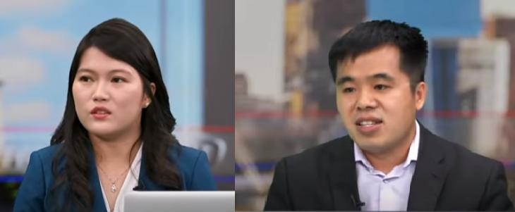 Kha Đình Đình (trái) và Tống Thăng Hoa (phải) trong một buổi phỏng vấn trực tiếp trên NTD New York