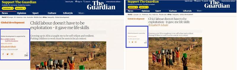 Bài viết trước và sau khi tờ Guardian đã gỡ bỏ phần viết đề cập việc Quỹ Gates tài trợ cho danh mục