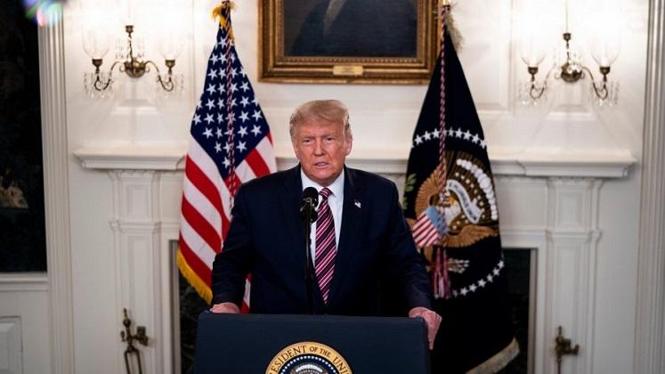 Tổng thống Donald Trump tại Phòng Tiếp tân Ngoại giao của Nhà Trắng, Washington, vào ngày 9/9/2020.