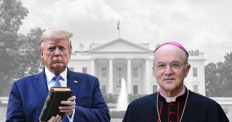 Carlo Maria Viganò nhăc TT Trump: Ngài hãy khẩn cầu Vương của các vị Vương để cứu chuộc đất nước của ngài, và ngài sẽ nhận được hồi đáp. (Ảnh tổng hợp)