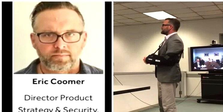 Eric Coomer - Giám đốc Chiến lược và An ninh của Hệ thống Bầu cử Dominion (trái), và hình ảnh của ông khi ông giới thiệu Dominion của mình ở Illinois vào năm 2016