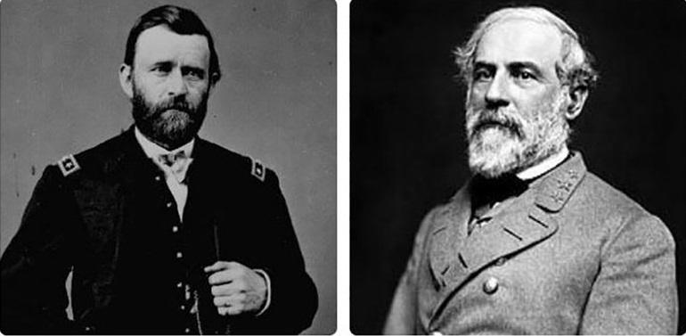 Tướng Ulysses Simpson Grant (trái) Tướng Robert Edward Lee (phải)