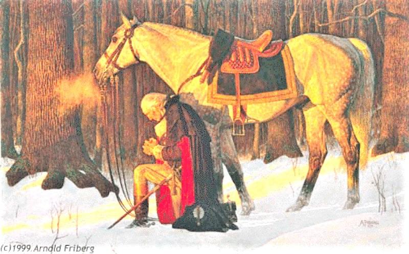 Tướng Washington một mình một ngựa cầu nguyện trong rừng sâu giữa trời lạnh giá