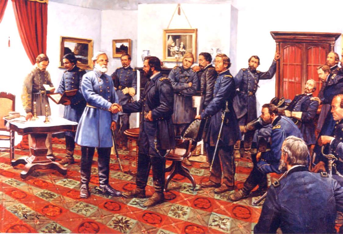 Tranh vẽ lại theo bức ảnh chụp thời đó- Tướng Grant (áo sậm) bắt tay tướng Lee (áo xanh nhạt), đánh dấu nội chiến Hoa Kỳ kết thúc