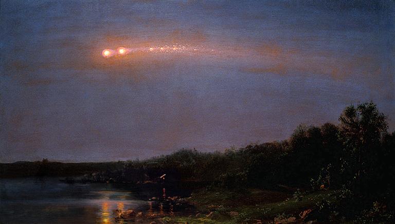 """Bức tranh sơn dầu """"1860 Great Meteor"""" của Frederic Church. (Ảnh: Wikipedia)"""