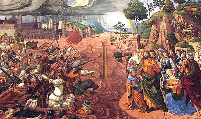 """Bức """"The Crossing of the Red Sea"""", 1481, mô tả cảnh đội quân đuổi theo Moses chìm trong biển đỏ"""
