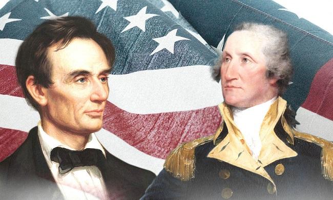 Tổng thống Lincoln (trái) và Tổng thống Washington (phải), họ cách nhau 70 tuổi nhưng là hai người quan trọng đã làm việc tận tụy để định hình vận mệnh của nước Mỹ hơn bất kỳ người nào khác