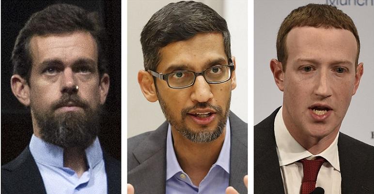 Từ trái qua phải: CEO Twitter - Jack Dorsey, CEO Google -  Sundar Pichai, CEO Facebook - Mark Zuckerberg.