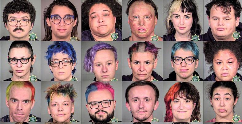 Một số người người  thuộc nhóm phong trào Antifa và BLM bị bắt ở thành phố  Portland, bang Oregon vào năm 2020.