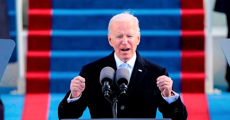 Tổng thống Joe Biden phát biểu sau khi tuyên thệ nhậm chức Tổng thống thứ 46 của Hoa Kỳ trong Lễ nhậm chức Tổng thống thứ 59 tại Điện Capitol Hoa Kỳ ở Washington, ngày 20/1/2021