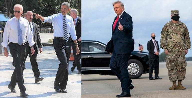Tổng thống Barack Obama và Phó tổng thống Joe Biden đi bộ xuống Đại lộ Pennsylvania để ăn trưa tại Taylor Gourmet Deli, ở Washington, DC vào ngày 4 /10/2013. Tổng thống Donald Trump đến Pope Army Field để tham dự một sự kiện với quân đội tại Fort Bragg vào ngày 29/10/2020