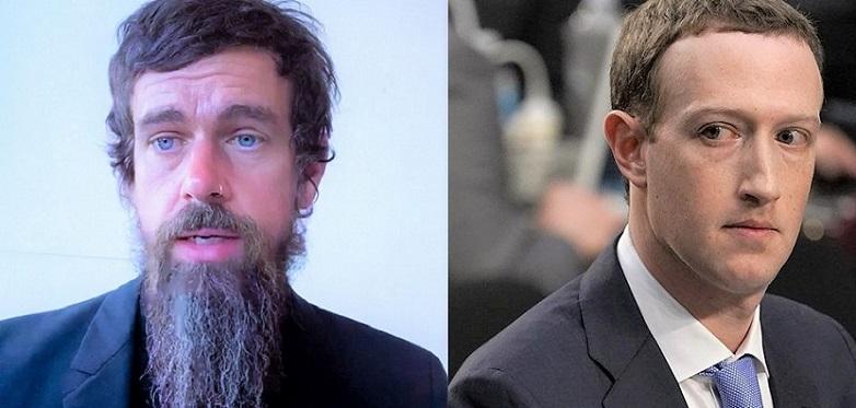 CEO của Twitter Jack Dorsey và CEO của Facebook Mark Zuckerberg