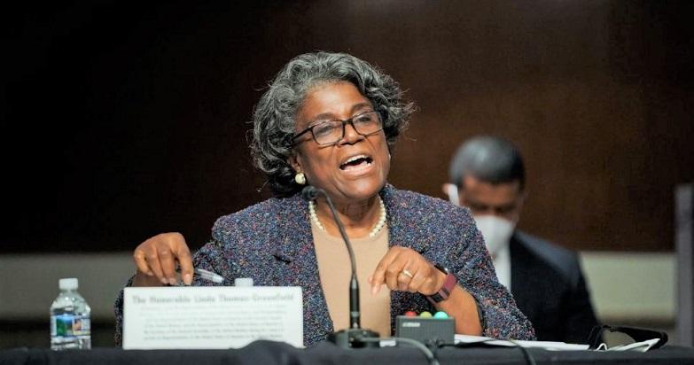 Linda Thomas-Greenfield phát biểu trước phiên điều trần của Ủy ban Đối ngoại Thượng viện về việc đề cử cô làm Đại sứ Hoa Kỳ tại Liên Hợp Quốc, tại Capitol Hill ở Washington, Washington vào ngày 27/1/2021.