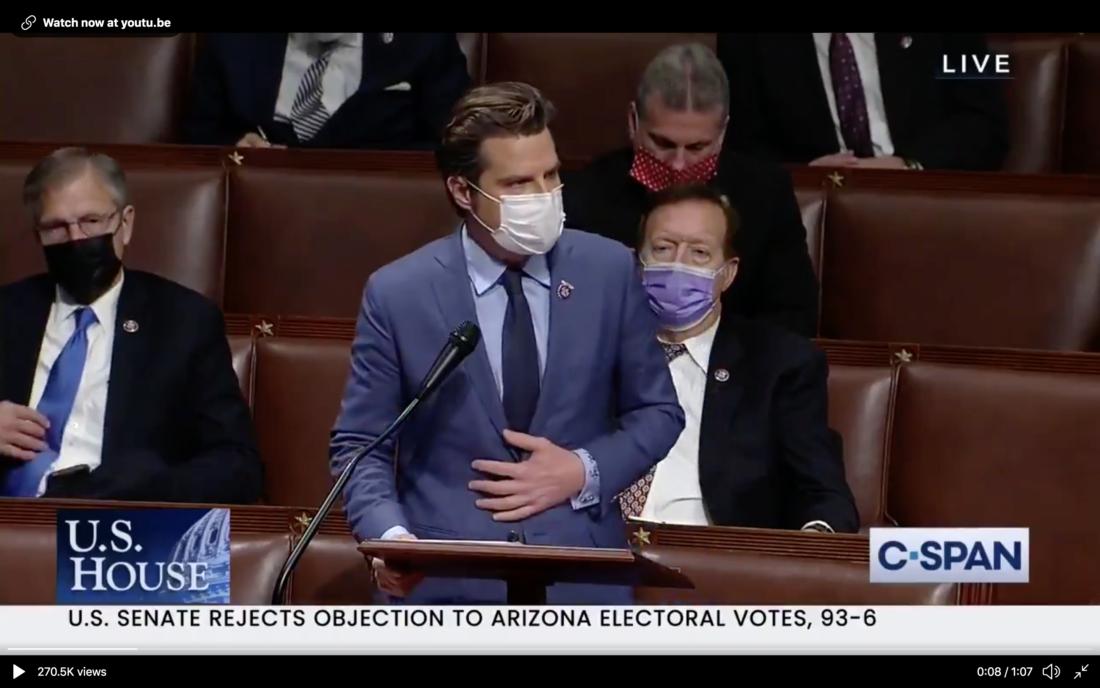 Hạ nghị sĩ Matt Gaetz mắng đồng nghiệp đạo đức giả khi họ đổ lỗi cho TT Trump về hỗn loạn ở Quốc hội