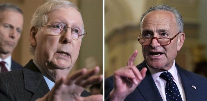 Lãnh đạo đảng Cộng hòa Thượng viện Mitch McConnell (trái) và Lãnh đạo đảng Dân chủ Thượng viện Chuck Schumer