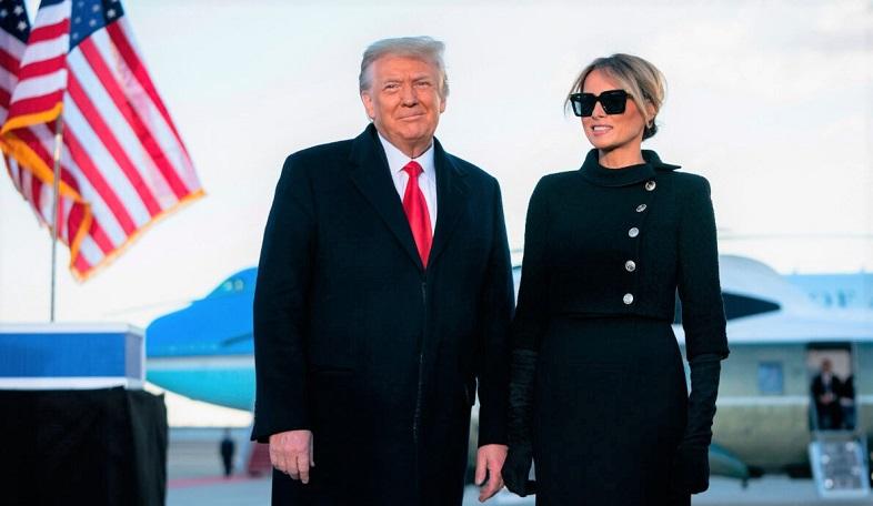 Tổng thống Donald Trump và Đệ nhất phu nhân Melania Trump phát biểu với các vị khách tại Căn cứ chung Andrews ở Maryland vào ngày 20/1/2021