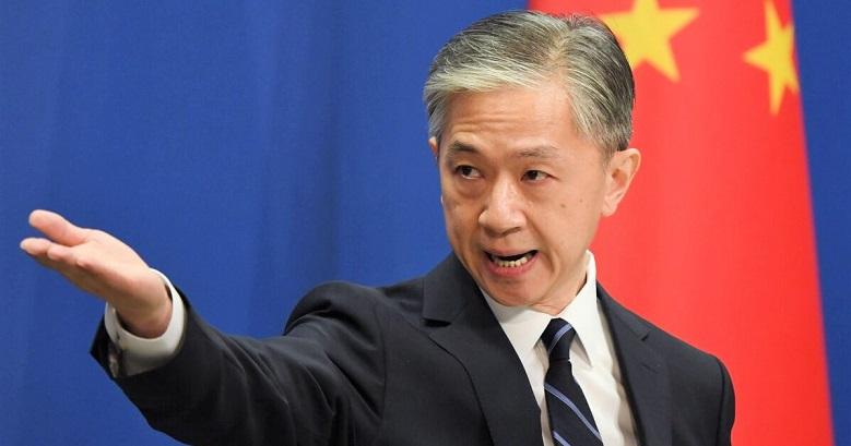 Phát ngôn viên Bộ Ngoại giao Trung Quốc Vương Văn Bân đặt câu hỏi trong cuộc họp giao ban hàng ngày của Bộ Ngoại giao ở Bắc Kinh vào ngày 24/7/2020
