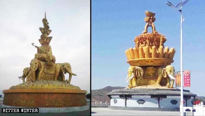 """Tượng Bồ Tát Phổ Hiền bị đổi thành cây ngô và cây lúa, trở thành tượng """"ngũ cốc bội thu""""."""