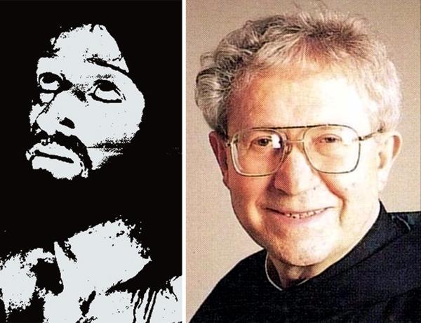 Đức cha Pellegrino Ernetti (phải) và bức ảnh chụp được (trái)