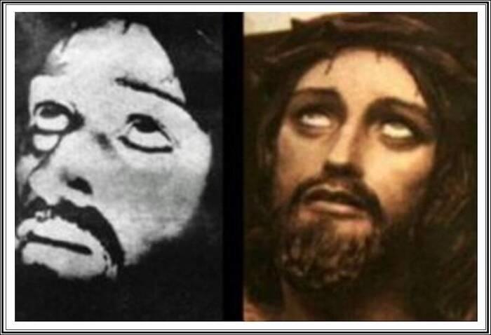 Bức ảnh Chúa Giêsu do Chronovisor ghi lại (trái) và một bức tranh tương tự kỳ lạ (phải) được tạo ra từ rất lâu trước khi Ernetti tung ra bức ảnh của mình.