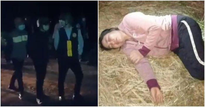 Hình ảnh nhóm người xảy ra xô xát với người dân thôn Thuận Bắc. (Ảnh qua Dân Trí)