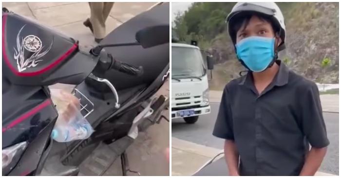 Lực lượng chức năng phường Vĩnh Hoà (TP. Nha Trang, tỉnh Khánh Hoà) giữ xe, giữ giấy tờ và một công nhân đi mua bánh mì (ảnh cắt từ clip).