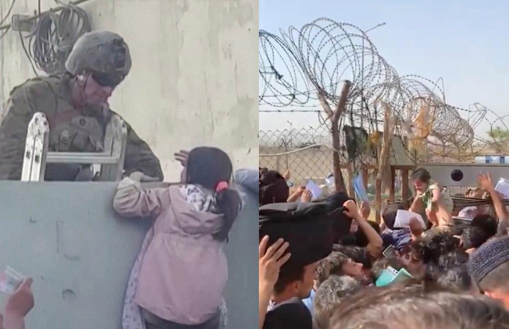 Những người đang tập trung bên ngoài sân bay ở thủ đô Kabul hy vọng có thể đưa con mình vượt qua tường rào để vào bên trong. (Ảnh qua New York Post)